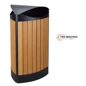Green Wood Powder Coated Steel Outdoor Dustbins pictures & photos