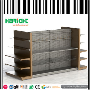 Supermarket Gondola with Wooden Shelves pictures & photos