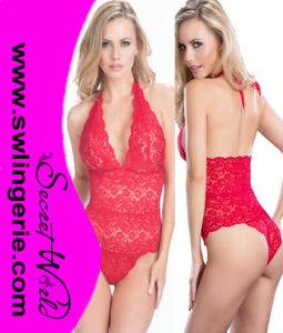 Lace Halter Teddy Sexy Lingerie 7204b-Red