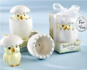 About to Hatch Ceramic Baby Chick Salt & Pepper Shakers Wedding Favors Party Favors Centerpieces Baby Shower