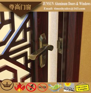 Chinese Style Sandal Wood Grain Aluminium Decorative Casement Door pictures & photos