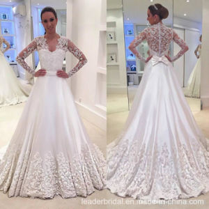 Long Sleeves Bridal Gowns Lace Satin A-Line Wedding Dress M2872 pictures & photos