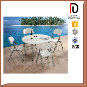 Round Plastic Folding Hotel Table with Metal Folding Legs pictures & photos