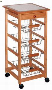 Wooden Kitchen Trolley W/ Tile Top (HX1-3089)