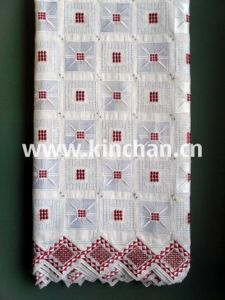 High Quantity Swiss Style Big Cotton Lace with Stones for Wedding. pictures & photos