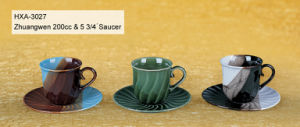 Wavy Design Stoneware Tea Cup&Saucer Set for Espresso Use pictures & photos