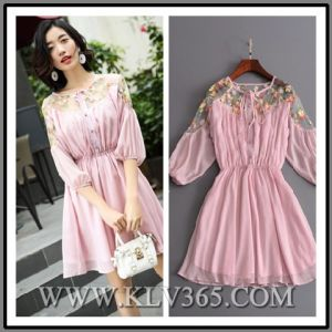 Latest Fashion Lady Clothing Summer Pink Half Sleeve Sweet Party Dress