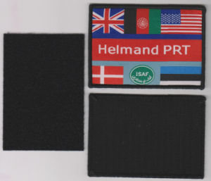 Black Velcro and Overlocking Damask Woven Patch pictures & photos