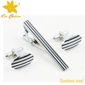 Tieclip-023 Newest Stainless Steel with Enamel Tie Clip Set pictures & photos