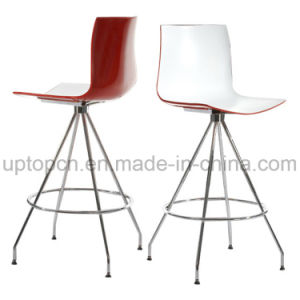 Double Color Red and White Plastic High Bar Chair with Chrome Steel Base (SP-UBC239) pictures & photos