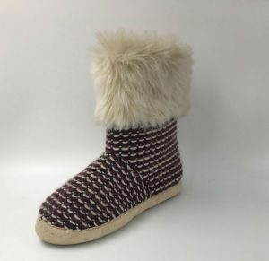 Lds Knit Winter Slipper pictures & photos