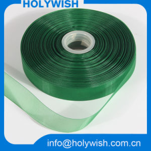 Eco-Friendly Silver Mesh Wide Organza Chiffon Ribbon for Wholesale pictures & photos