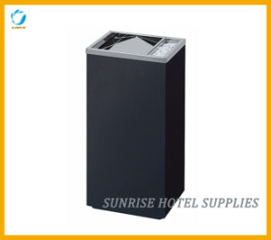 Black Powder Coating Garbage Waste Bin with Top Ashtray pictures & photos