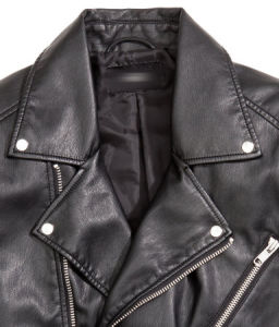 Back Color Leather PU Mens Bike Jacket pictures & photos