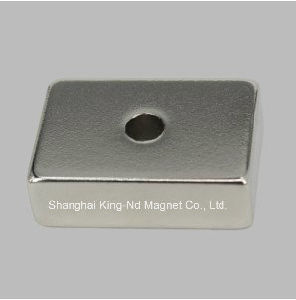 Shk011-Permanent Neodymium Motor Block Countersink Magnet with Hole (N42) pictures & photos
