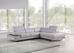Guangzhou Modern L Shape Genuine Leather Sofa with Sectional Grey Couch Set pictures & photos