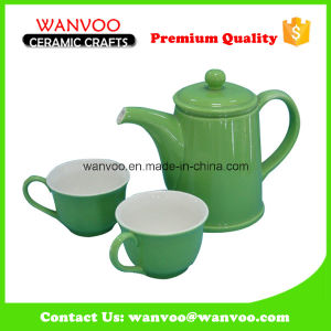 Modern Style Green Ceramic Tea Set with 2 Cups pictures & photos