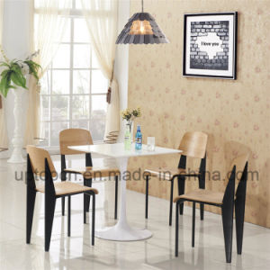 Restaurant Furniture White Table and Wooden Chair with Metal Leg (SP-CT667) pictures & photos