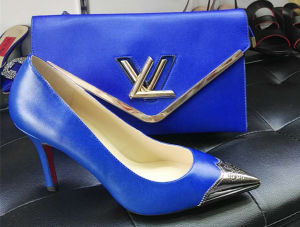 Blue Color Metallic Toe Women Shoes with Matching Purse (G-2)