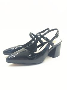 Black Fashion Sandal for Ladies Heel Sandal PU Upper Leather Upper