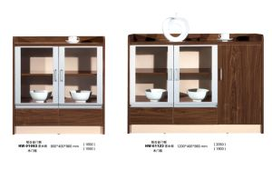 Modern Home Kitchen Wood Tea Cabinet with Glass pictures & photos