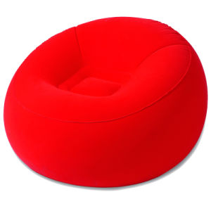 Red Flocked PVC Inflatable Round Chair Sofa pictures & photos