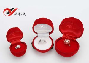Three Size Rose Shape Velvet Ring Box pictures & photos