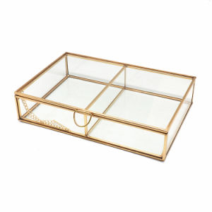 Wholesale Double Compartments Modern Golden Glass Jewelry Box pictures & photos