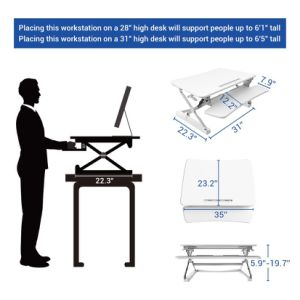 "Loctek 35"" Wide Platform Height Adjustable Standing Desk Riser, Sit-Stand Workstation, White (MT101M) pictures & photos"