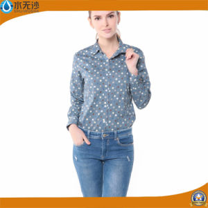 Wholesale Women Fashion Print Cotton Blouse Factory Tops