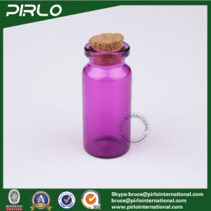 10ml Purple Color Cylinder Round Glass Bottle Cork Stopper Empty Glass Perfume Bottle with Cork pictures & photos
