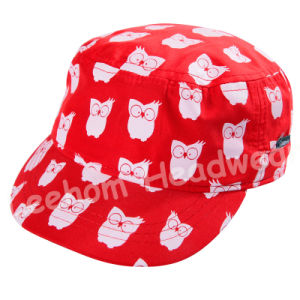 (LM14005) Microfiber Peach Embroidery Fashion Baby Kids Army Military Hat Cap pictures & photos