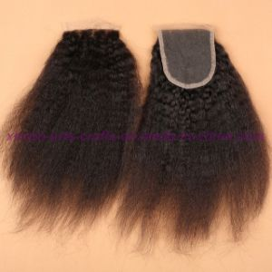 Malaysian Kinky Straight Lace Closure with Baby Hair 4X4 Coarse Yaki Lace Closure pictures & photos