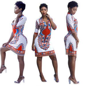 Traditional Floral Print Bodycon African Dashiki Abayas (A975) pictures & photos