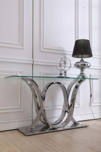 Hotel Furniture Clear Glass Top with Silver Base Console Table pictures & photos