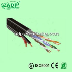 Black Networking Cable Outdoor Cat5e Copper Cable with 2c 0.5mm2 0.75mm2 Power Cable pictures & photos