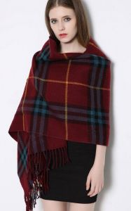 Winter Large Thicker Plaid Double-Side Scarf Checked Shawls with Pocket pictures & photos