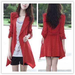 Spring Autumn Fashion Cheap Long Style Red Women Trench Coat pictures & photos