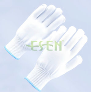 13 Gauge White Knitted Polyester Gloves Manufacturer in China/Regenerated Polyester Dyed Blend Yarn pictures & photos