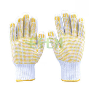 Knitted Cotton Gloves with Yellow PVC Dots Palm Sides (D16-H2) pictures & photos