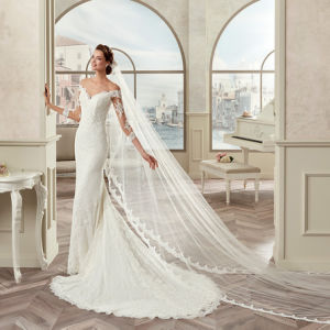 New Arrival Tulle Appliques Three Quarter Sleeve Mermaid Wedding Dress 2017