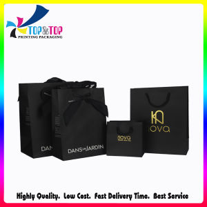 Ribbon Handles Solid Black Color C1s Paper Bags for Shopping pictures & photos