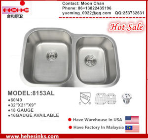 304 Stainless Steel Undermount 60/40 Sink for Kitchen with Cupc Certificate pictures & photos