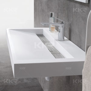 Top Quality White Rectangular Shape Resin Stone Wash Basin pictures & photos
