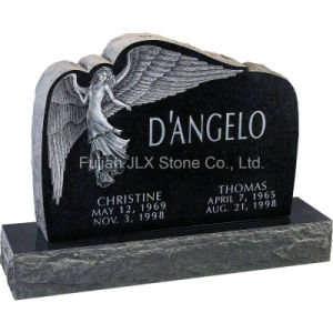 Black Granite Square Headstone with Angel Sculpture pictures & photos