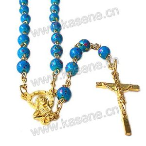 Factory Direct Sale Glass Bead Gold Rosary Necklace with Crucifix
