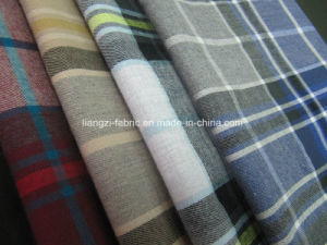 Melange Yarn Cotton Flannel Check Fabric pictures & photos