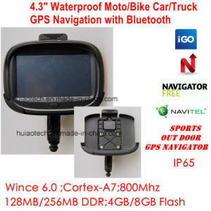 "New Factory Waterproof IP65 ID 4.3"" Motorcycle Bike Car GPS Navigator Built-in 66 Channel GPS Recevier Navigation,Wince 6.0, 800MHz Cortext-A7,Bluetooth,Sat Nav pictures & photos"