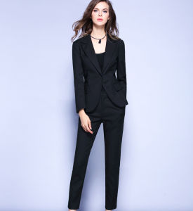 Good Quality Office Lady Business Sleeveless Suit-Black