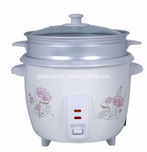 Kitchen Appliance Electric Rice Cooker with Steamer & Glass Lid